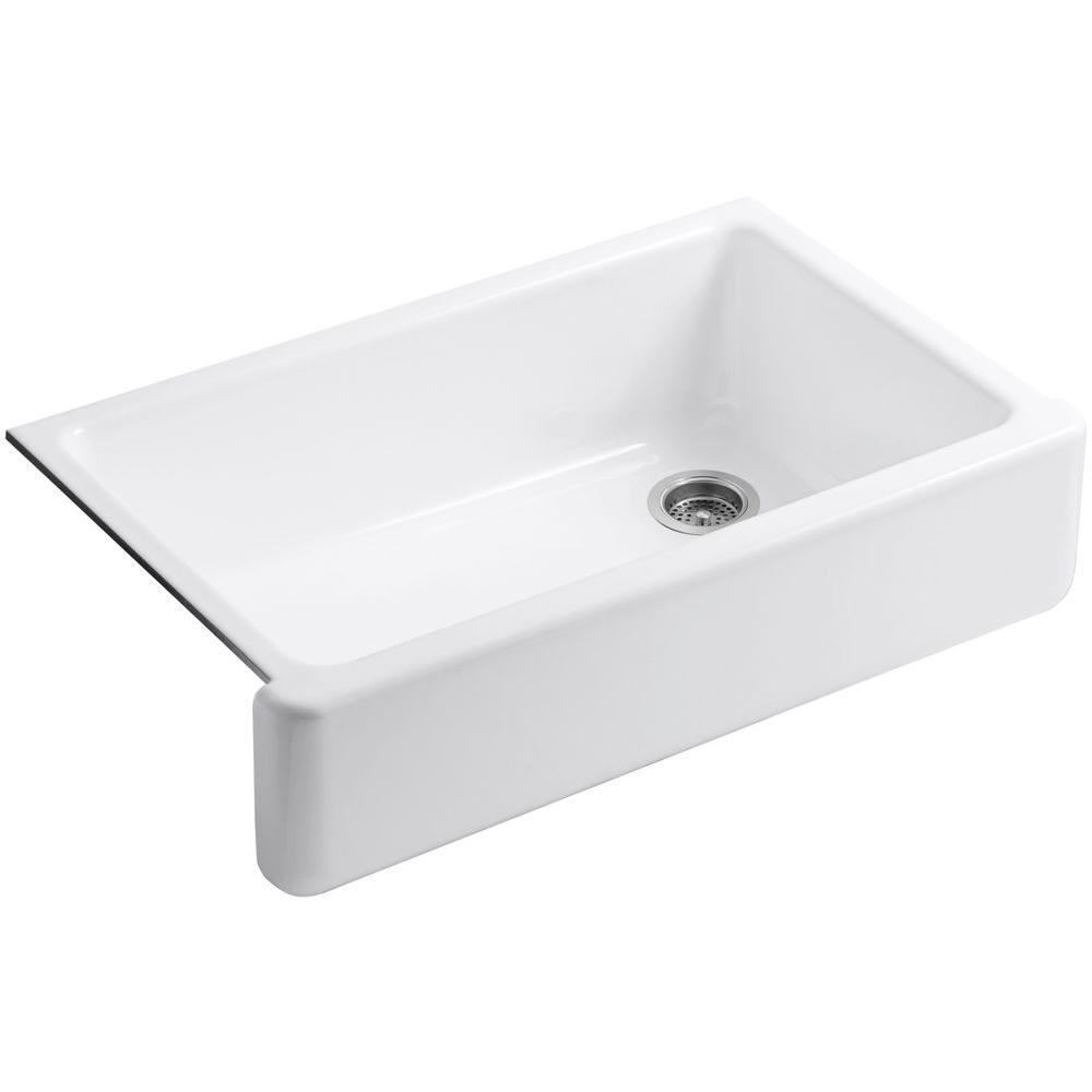 White Single Bowl Kitchen Sink.Kohler Whitehaven Undermount Farmhouse Apron Front Cast Iron 36 In Single Bowl Kitchen Sink In White
