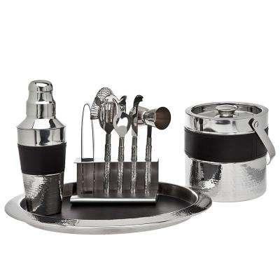 9-Piece Black Leather Bar Set