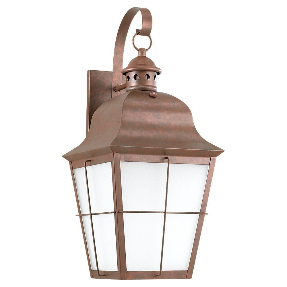 Sea Gull Lighting Chatham 1-Light Outdoor Weathered Copper Wall Mount Fixture