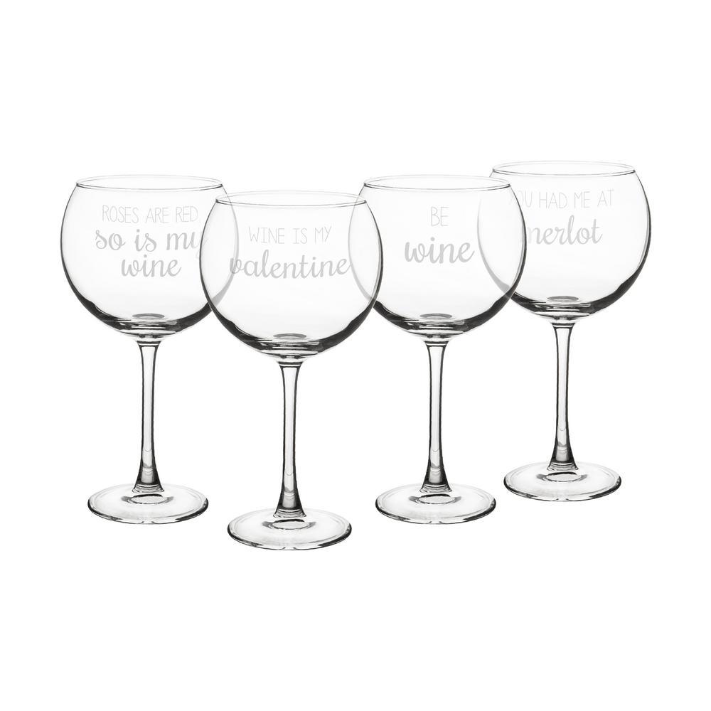 valentine 19 oz red wine glasses set of 4 - Valentine Wine Glasses