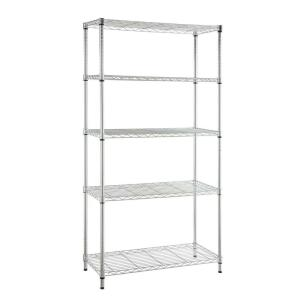 Hdx Black 4 Tier Metal Wire Shelving Unit 36 In W X 54 In H X 14 In D 21436bps The Home Depot