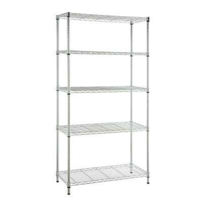 Deco 5-Tier Steel Garage Storage Shelving Unit in Chrome (36 in. W x 72 in. H x 16 in. D)