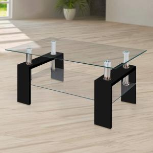 Modern Glass Black Coffee Table With Shelf Contemporary Living Room