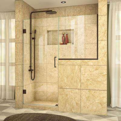 Unidoor Plus 59 in. to 59-1/2 in. x 72 in. Frameless Pivot Shower Door in Oil Rubbed Bronze with Buttress Panel