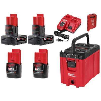 M12 12-Volt Lithium-Ion XC Extended Capacity Battery Pack 6.0Ah (2-Pack) and 3.0Ah Battery (2-Pack) W/ PACKOUT Tool Box