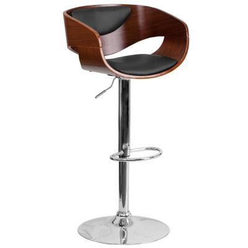 Adjustable Height Walnut Bentwood Barstool with Black Vinyl Seat