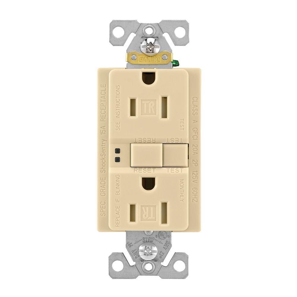 10  15A   GFCI Outlet Receptacle 15 Amp IVORY w//LED indicator QTY UL