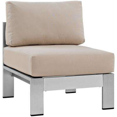 Shore Armless Patio Aluminum Outdoor Lounge Chair in Silver With Beige Cushions