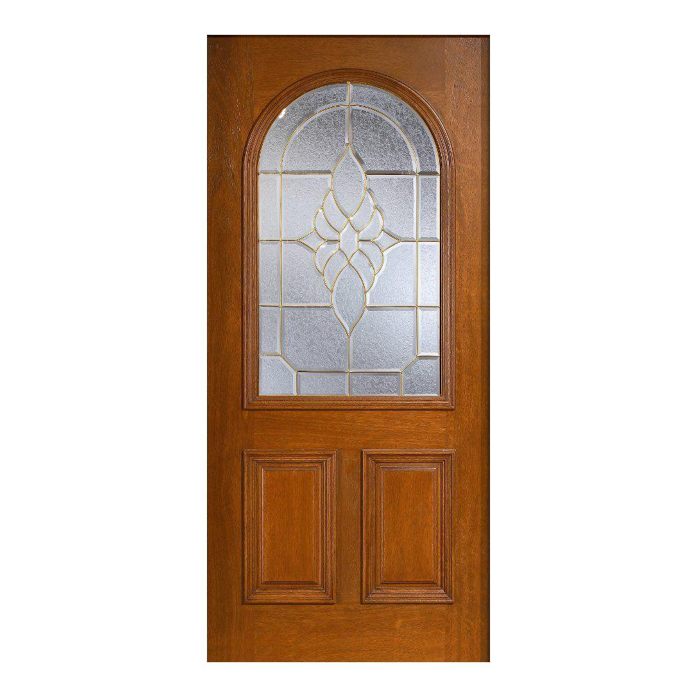 Main Door 36 in. x 80 in. Mahogany Type Prefinished Cherry Beveled Brass Roundtop Glass Solid Stained Wood Front Door Slab
