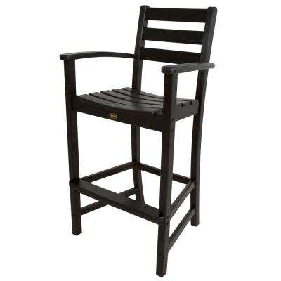 Monterey Bay Charcoal Black Plastic Outdoor Patio Bar Arm Chair