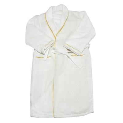 European Spa and Bath in White Waffle Weave Terry Cloth Robe with Gold Embroidered Trim