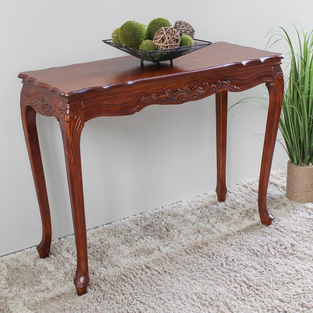 Windsor Carved Wood Queen Ann Mahogany Finished Console Table