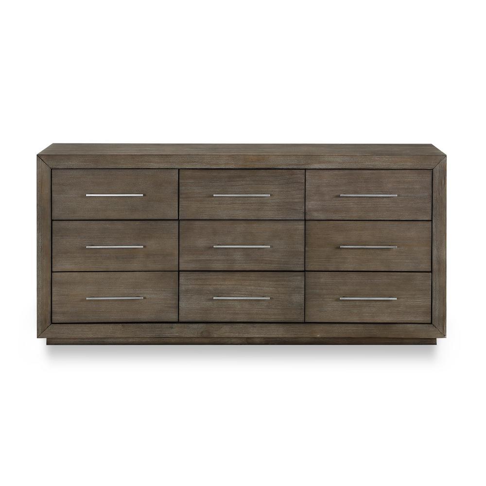 Melbourne 9-Drawer Dark Pine Dresser (34 in. H x 72 in. W x 19 in. D)