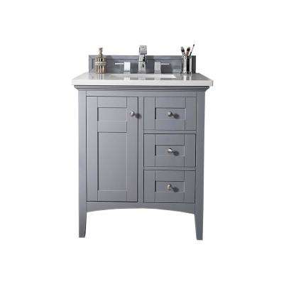 Palisades 30 in. W Single Vanity in Silver Gray with Marble Vanity Top in Carrara White with White Basin