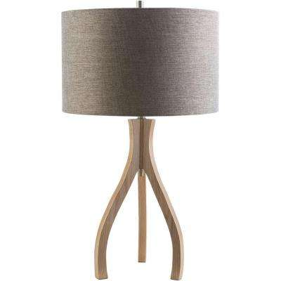 Benerito 28.74 in. Natural Wood Indoor Table Lamp with Gray Shade