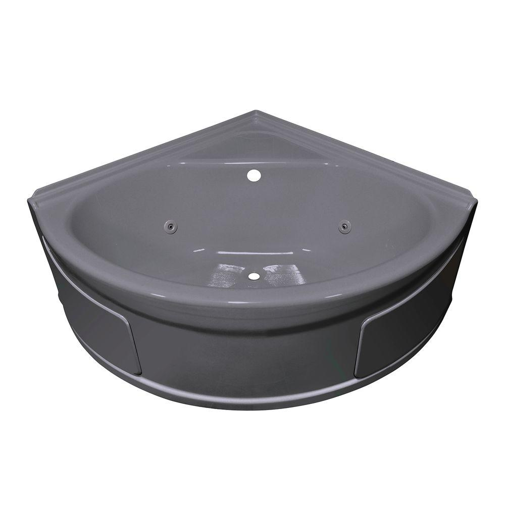 Lyons Industries Sea Wave 4 ft. Whirlpool Tub with Center Drain in Silver Metallic