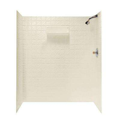 36 in. x 65 in. x 72 in. 5-piece Easy Up Adhesive Alcove Shower Surround in Bone