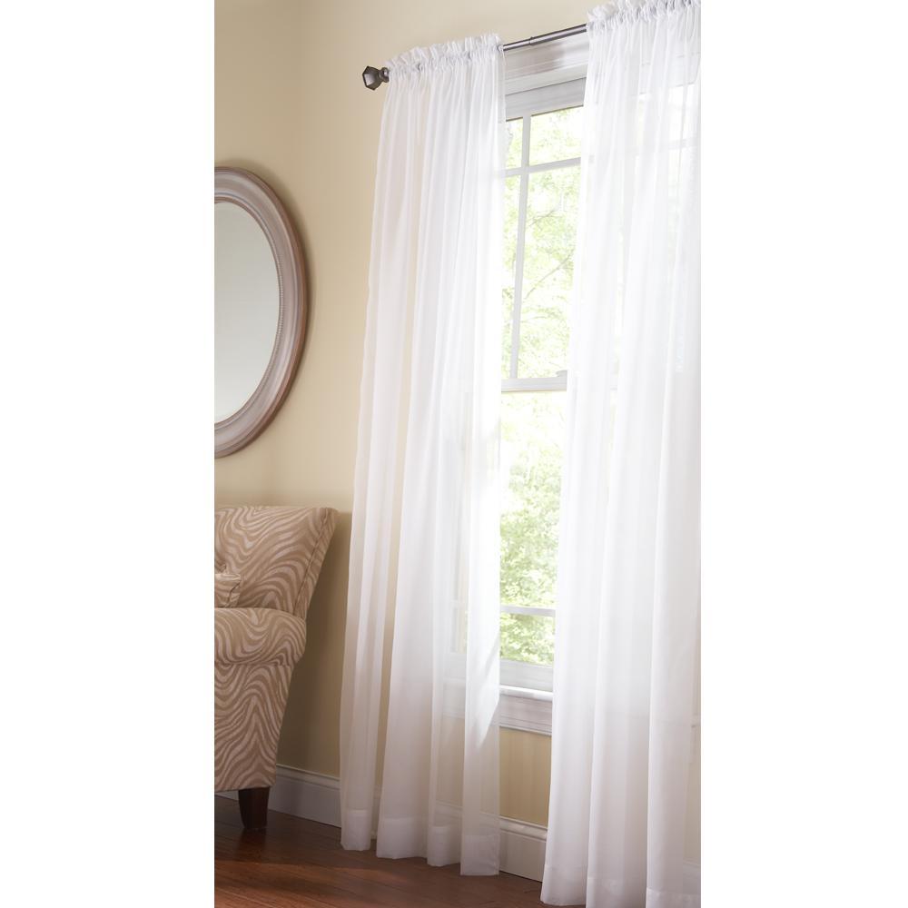 Sheer Pure White Fine Sheer Rod Pocket Curtain