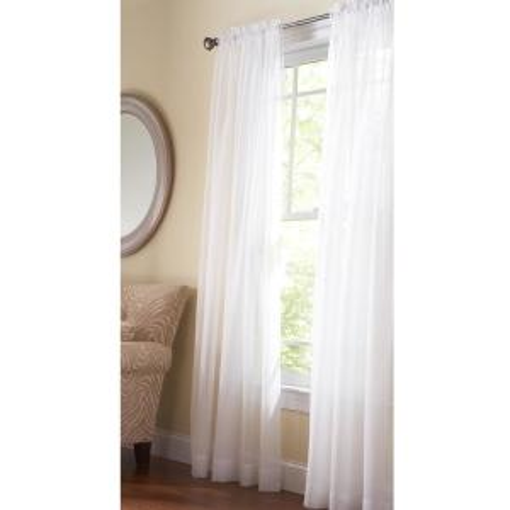 Fine Sheer Window Panel in Pure White - 60 in. W x 84 in. L