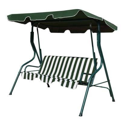 3-Person Green Steel Frame Patio Canopy Swing Hammock with Green/White Cushion