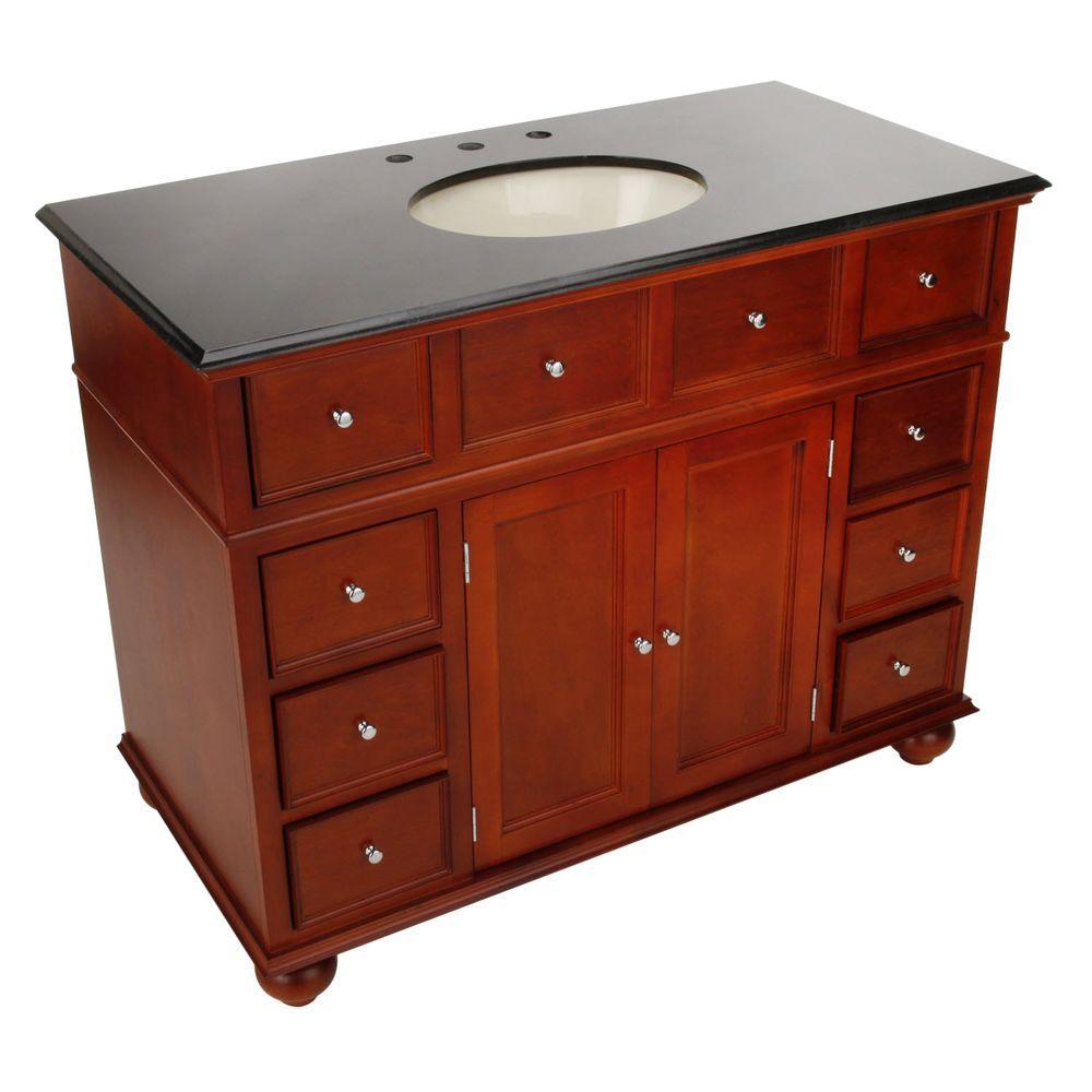 Home Decorators Collection Hampton Bay 44 in. W x 22 in. Double Vanity in Hazel Brown with Granite Vanity Top in Black