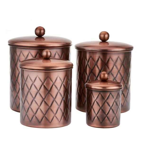 Old Dutch 4-Piece Antique Copper Embossed Diamond Canister Set in 4
