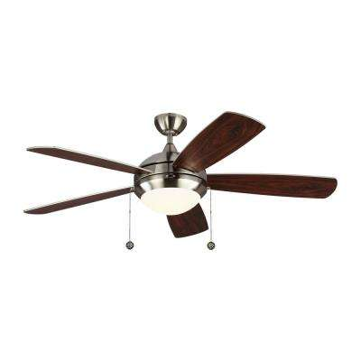 Discus Classic 52 in. Integrated LED Brushed Steel Ceiling Fan with Light Kit
