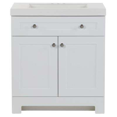 Everdean 30.5 in. W x 19 in. D x 34 in. H Bath Vanity in White with Cultured Marble Vanity Top in White with White Sink