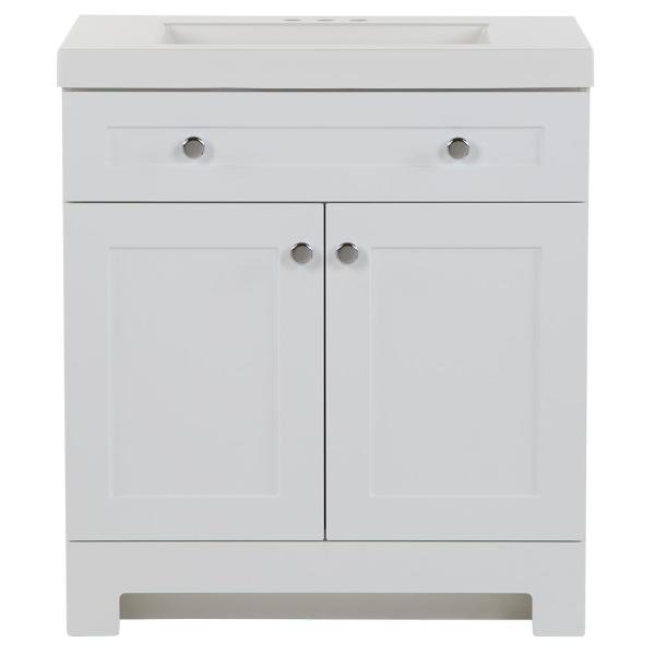 Everdean 30.50 in. W x 18.75 in. D Bath Vanity in White with Cultured Marble Vanity Top in White with White Basin