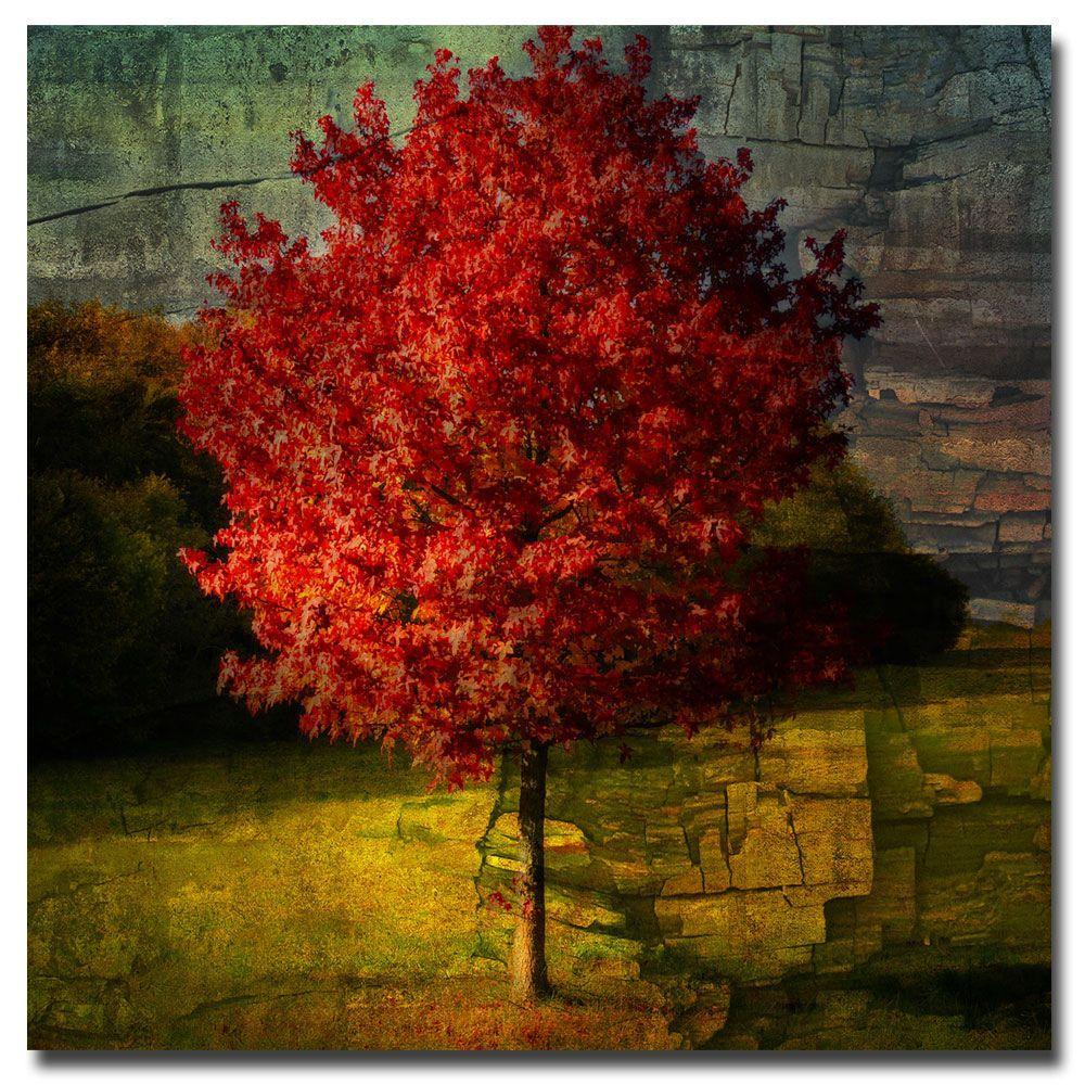 18 in. x 18 in. Autumn Red Canvas Art