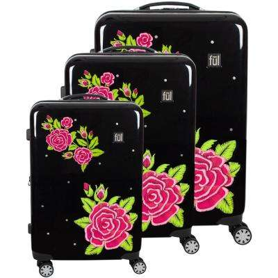 Printed Rose Hard Sided 29 in., 25 in., and 21 in. 3-Piece Black Luggage Suitcases Set