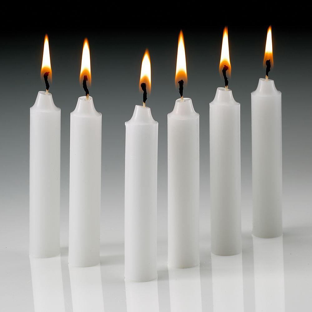 4 in. x 1/2 in. Thick White Taper Candles (Set of