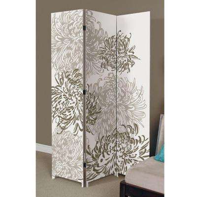 Bota 5.92 ft. Taupe and Ivory 3-Panel Room Divider