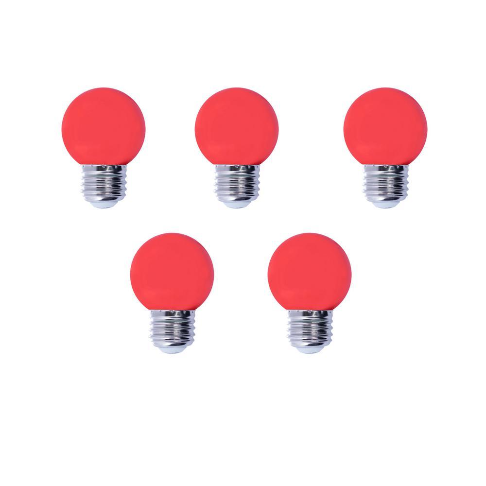 Bulbrite 15-Watt Equivalent G14 Non-Dimmable LED Medium Screw Light Bulb, Red Light (5-Pack)