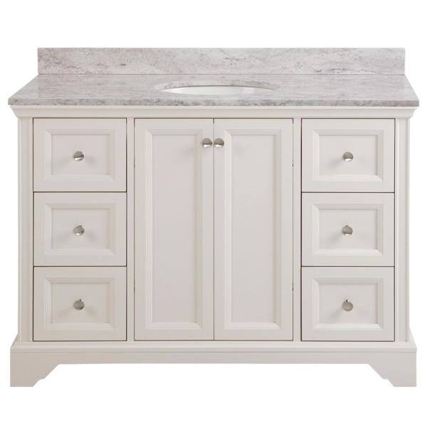 Stratfield 49 in. W x 22 in. D Bathroom Vanity in Cream with Stone Effect Vanity Top in Winter Mist with White Sink