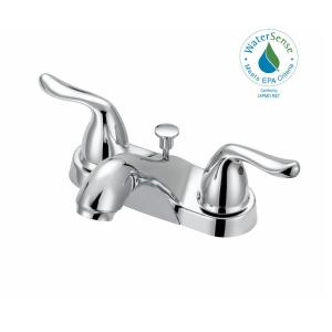 Glacier Bay Constructor 4 inch Centerset 2-Handle Mid-Arc Bathroom Faucet with Click Install Pop Up in Chrome by Glacier Bay