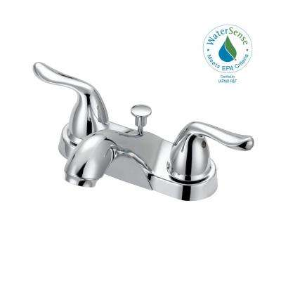 Constructor 4 in. Centerset 2-Handle Mid-Arc Bathroom Faucet with Click Install Pop Up in Chrome