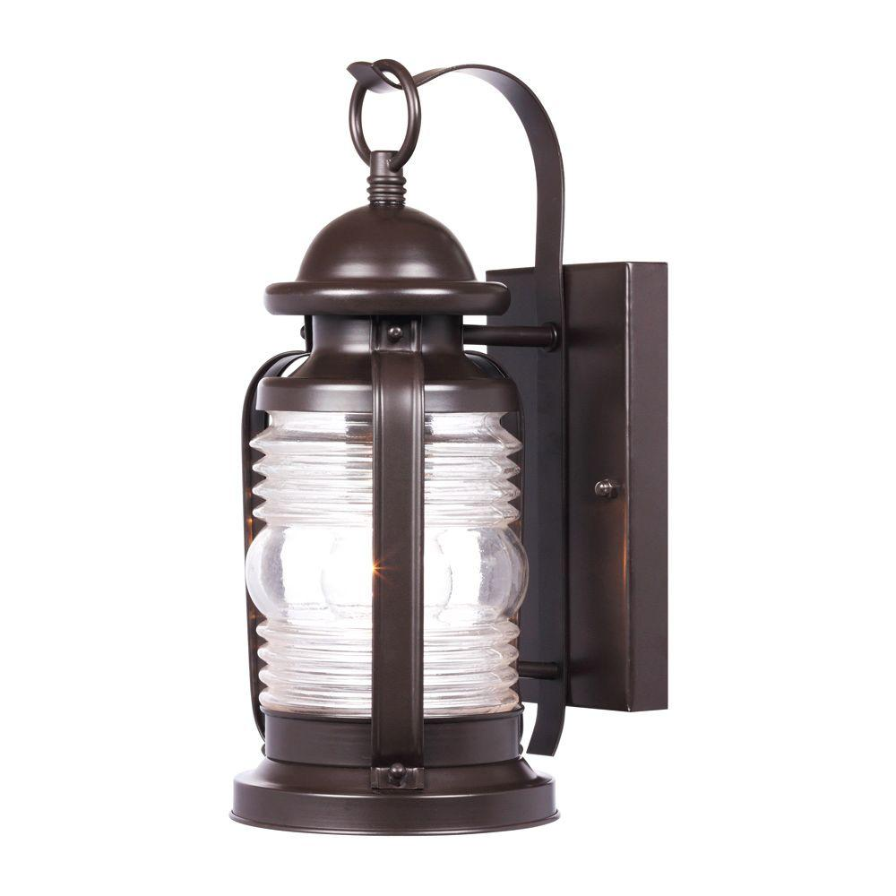 Westinghouse weatherby wall mount 1 light outdoor weathered bronze lantern 6230100 the home depot for Exterior wall mounted lanterns