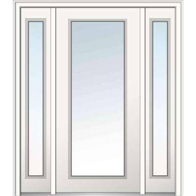 64 in. x 80 in. Classic Right-Hand Inswing Full Lite Clear Primed Fiberglass Smooth Prehung Front Door with Sidelites