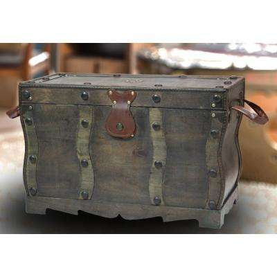 Antique Style Distressed Black Wooden Pirate Treasure Chest Trunk