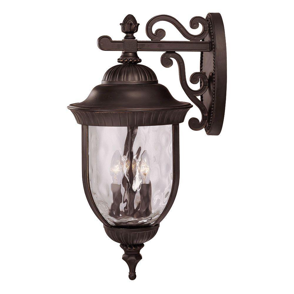 Illumine 4-Light Wall Mount Lantern Black w/ Gold Finish Clear Hammered Glass