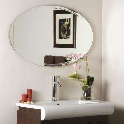 23.5 in. x 39.2 in. Oval Extra Long Oval Wall Mirror with Engraved Edge