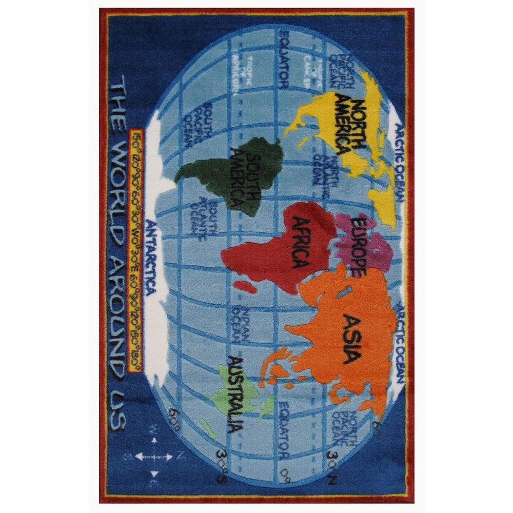 Supreme Kids World Map Multi Colored 31 in. x 47 in. Area Rug