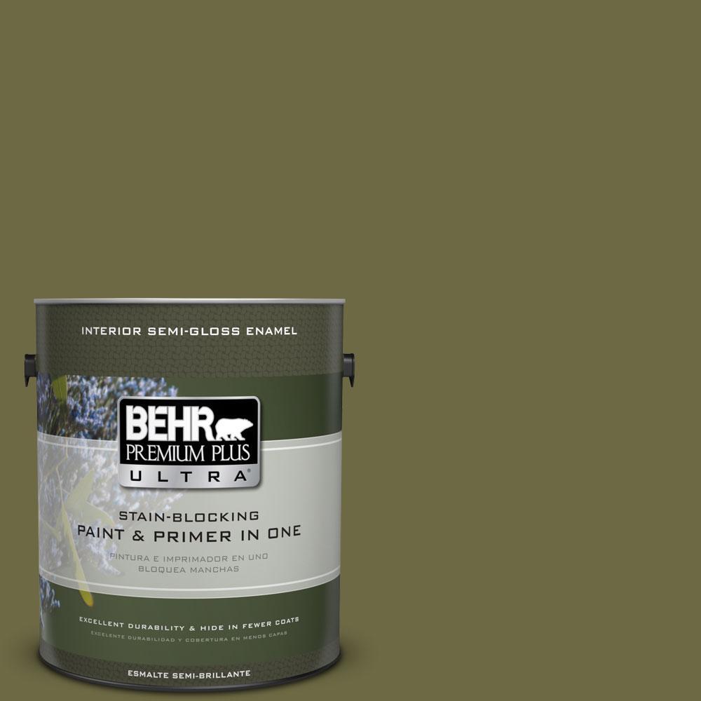 BEHR Premium Plus Ultra Home Decorators Collection 1-gal. #HDC-CL-20 Portsmouth Olive Semi-Gloss Enamel Interior Paint