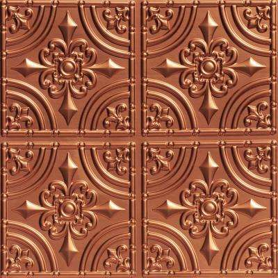 Wrought Iron 2 ft. x 2 ft. PVC Glue-up Ceiling Tile in Copper