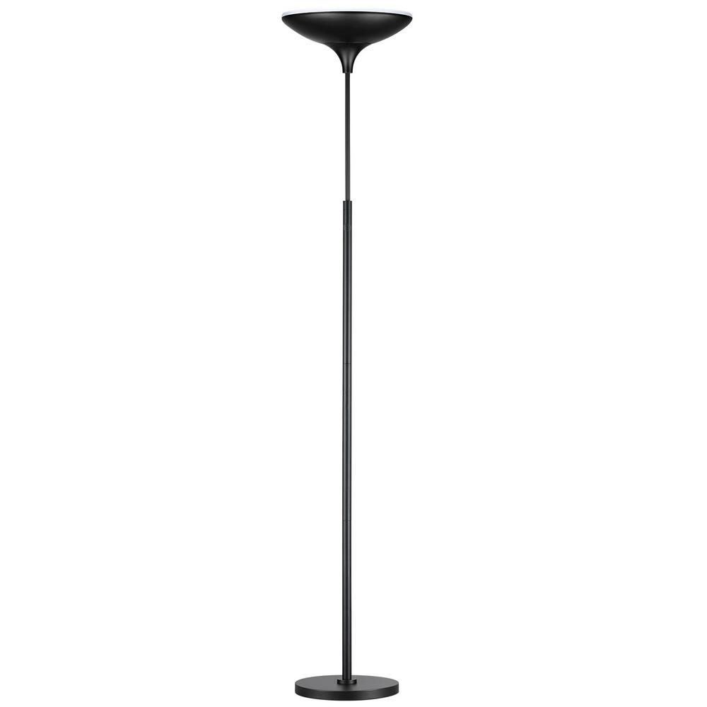 Globe Electric 71 in. Black Satin LED Floor Lamp Torchiere with ...