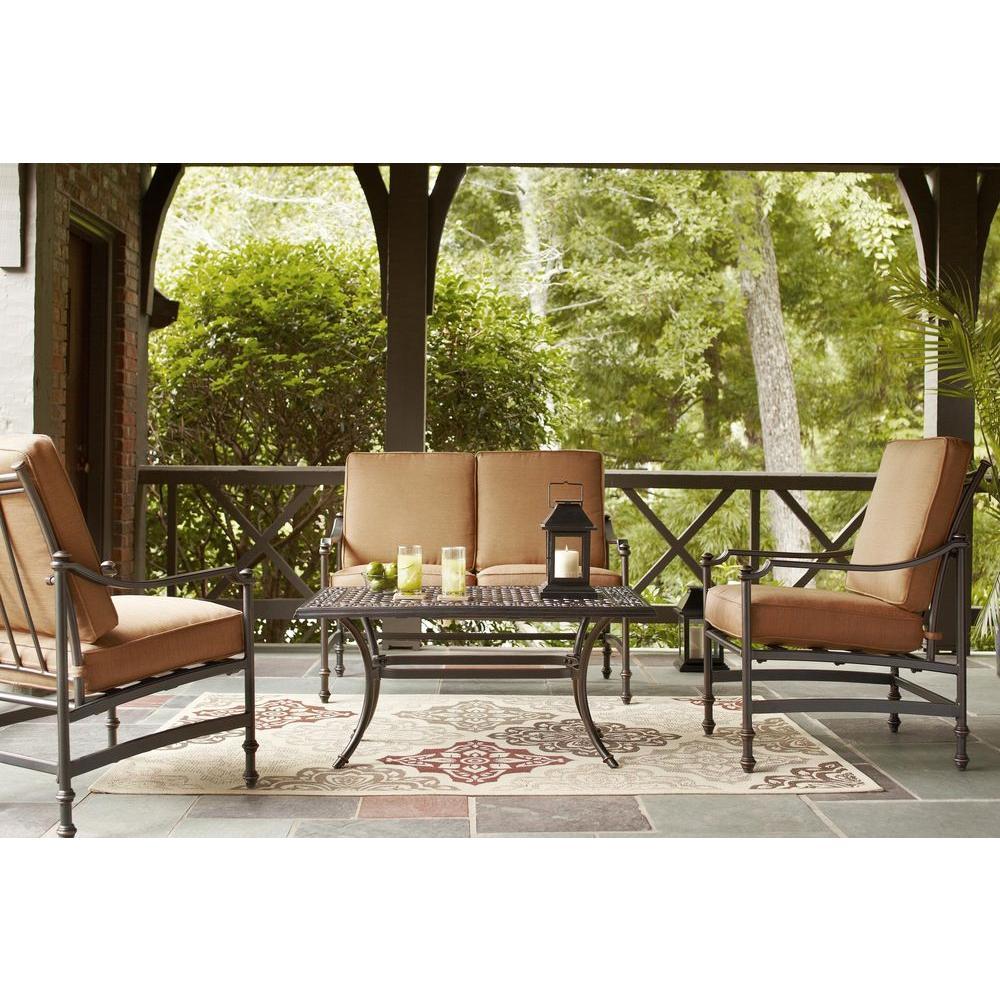 Outdoor Patio Furniture Burlington: Hampton Bay Niles Park 4-Piece Patio Deep Seating Set With