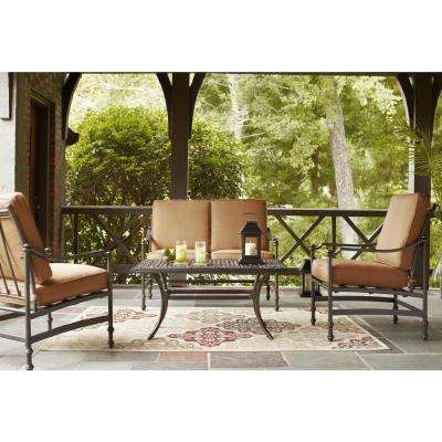 Niles Park 4 Piece Patio Deep Seating Set With Cashew Cushions