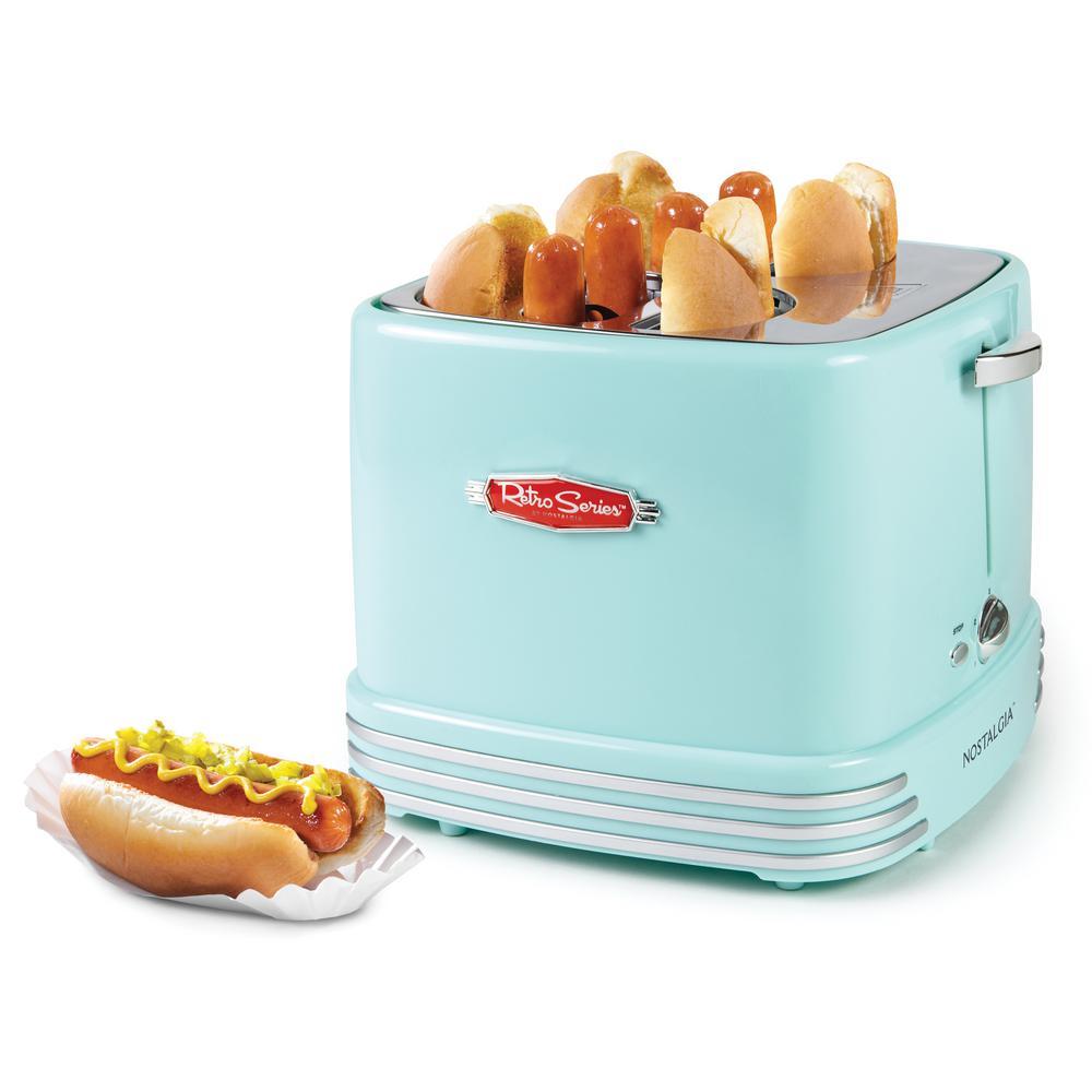 4-Slot Retro Hot Dog Toaster, Aqua
