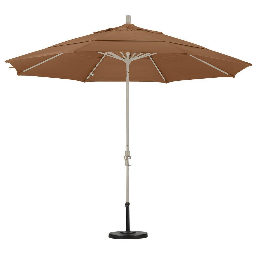 California Umbrella 11 ft. Aluminum Collar Tilt Double Vented Patio Umbrella in Straw Pacifica